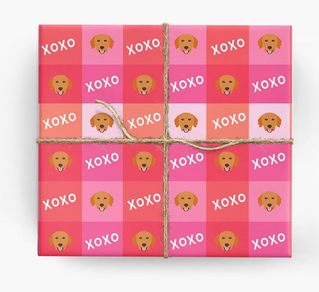 'XOXO' - Personalized Golden Retriever Wrapping Paper