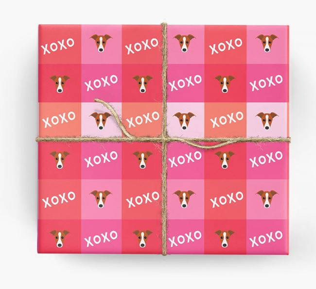 'XOXO' - Personalized Greyhound Wrapping Paper