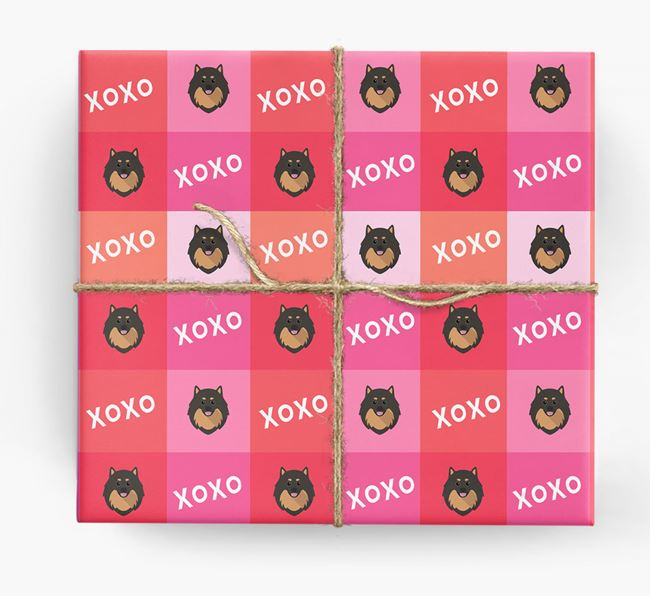 'XOXO' - Personalised Pomeranian Wrapping Paper
