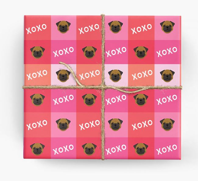 'XOXO' - Personalized Pug Wrapping Paper