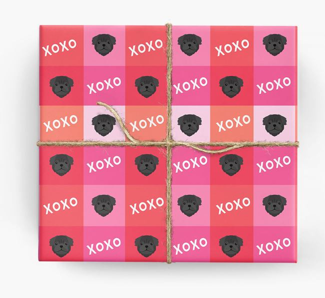 'XOXO' - Personalised Pug Wrapping Paper