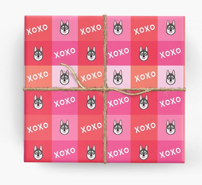 'XOXO' - Personalised Tamaskan Wrapping Paper