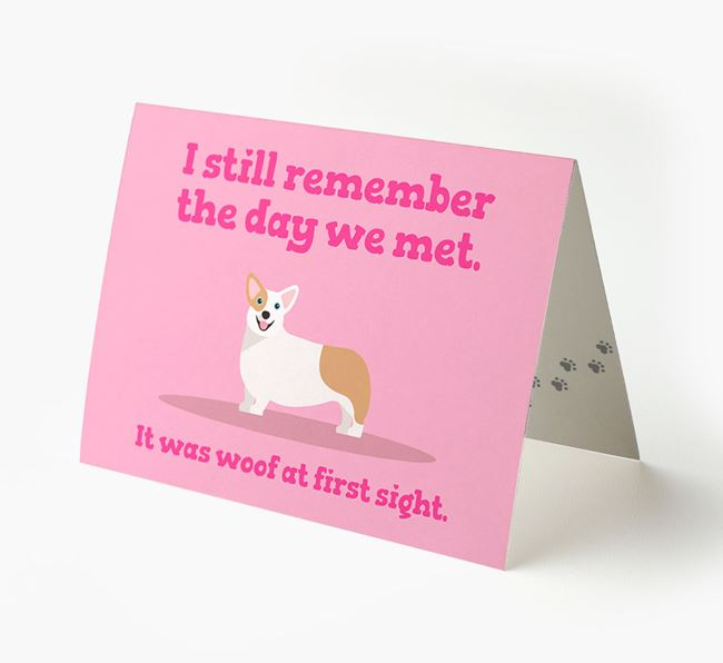 'The Day We Met' - Personalized Corgi Card