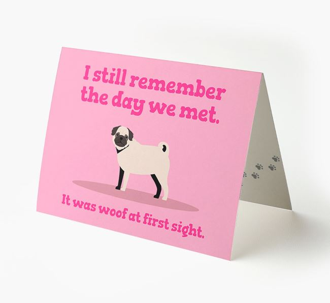 'The Day We Met' - Personalized Pug Card