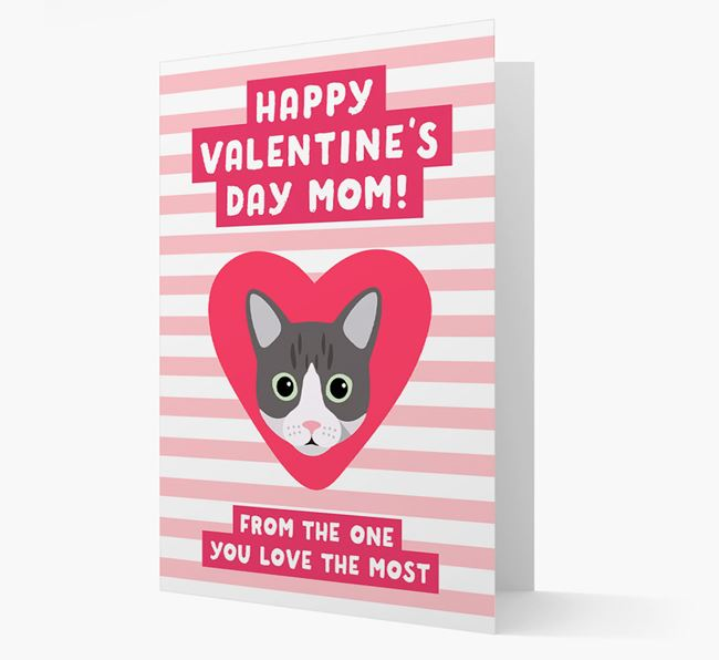 'Happy Valentine's Day Mom' - Personalized Cat Card