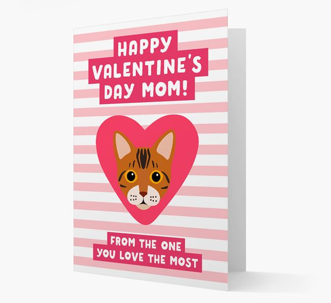 'Happy Valentine's Day Mom' - Personalized Bengal Card