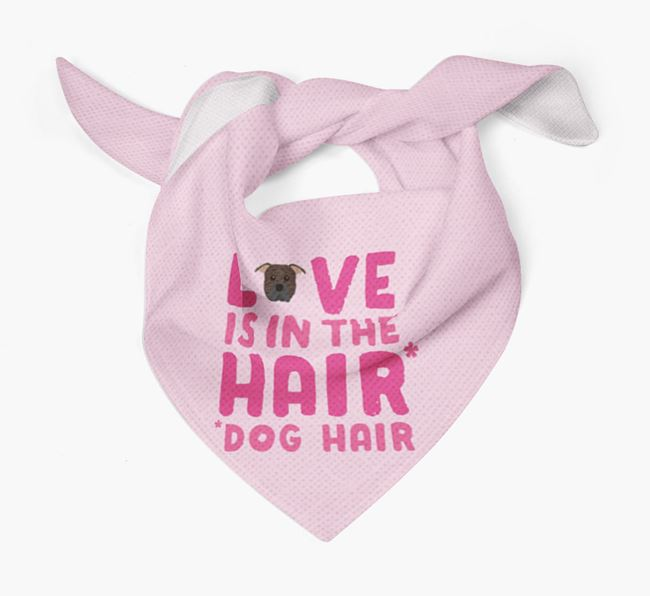 'Love is in the Hair' - Personalized American Pit Bull Terrier Bandana