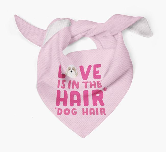 'Love is in the Hair' - Personalized Bearded Collie Bandana