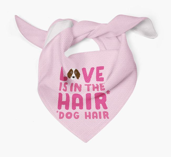 'Love is in the Hair' - Personalised Irish Red & White Setter Bandana