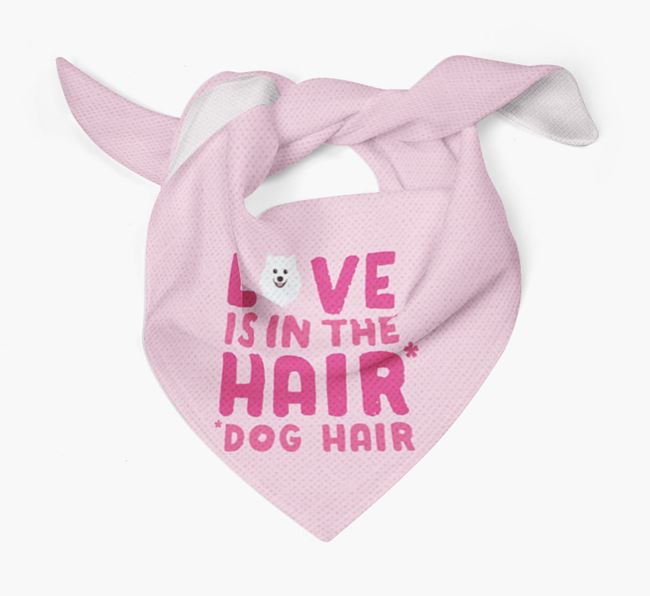 'Love is in the Hair' - Personalised Japanese Spitz Bandana