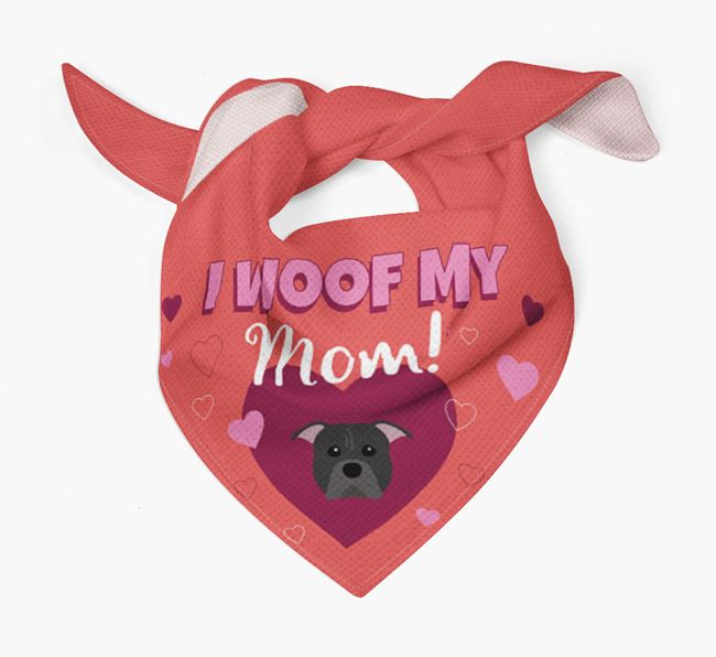 'I Woof My Mom' - Personalized American Pit Bull Terrier Bandana