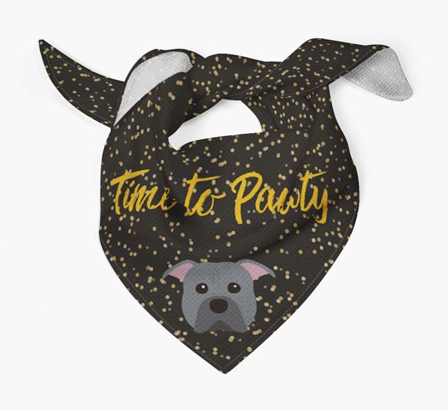 'Time to Pawty' Pit Bull Terrier Bandana