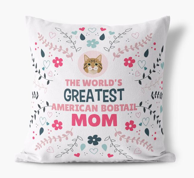 'World's Greatest Cat Mom' - Personalized Canvas Cushion