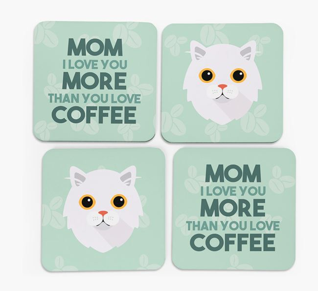 'More than Coffee' - Personalized Cat Coasters (Set of 4)