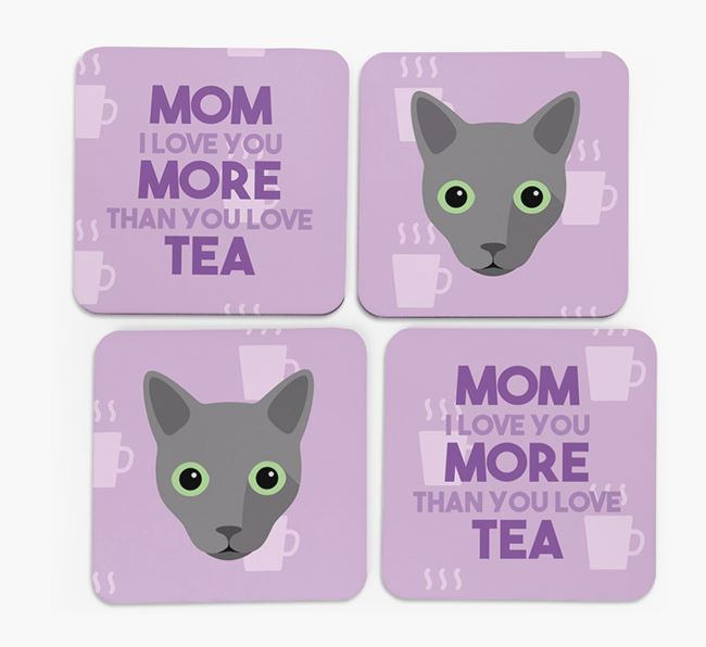 'More than Tea' - Personalized Cat Coasters (Set of 4)