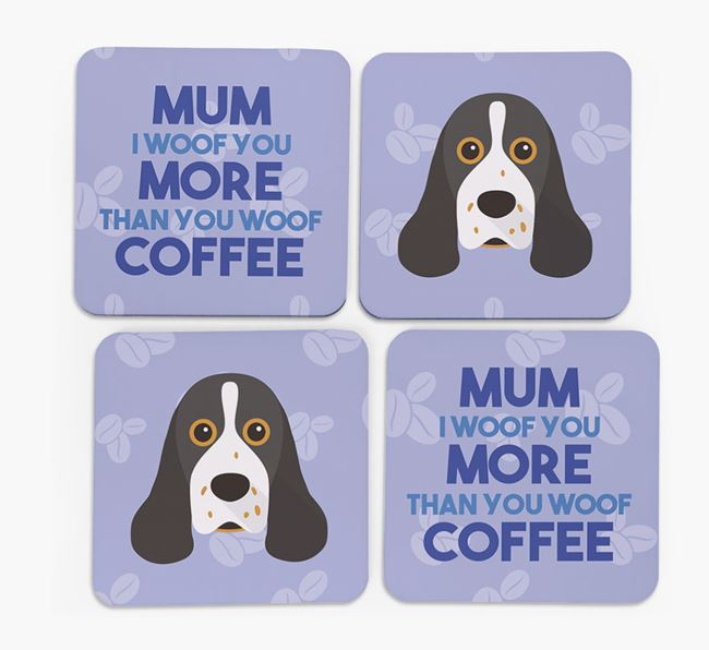 'More than Coffee' - Personalised American Cocker Spaniel Coasters (Set of 4)