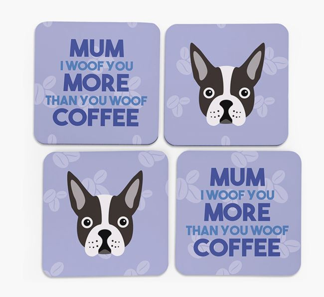 'More than Coffee' - Personalised Dog Coasters (Set of 4)
