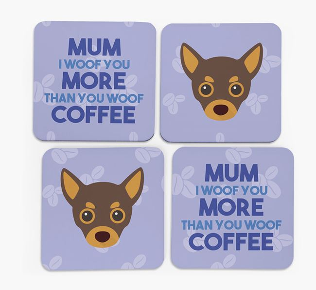 'More than Coffee' - Personalised Chihuahua Coasters (Set of 4)