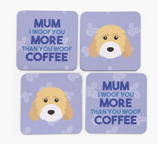 'More than Coffee' - Personalised Cockapoo Coasters (Set of 4)