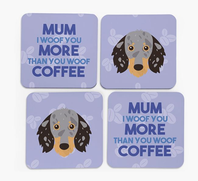 'More than Coffee' - Personalised Dachshund Coasters (Set of 4)
