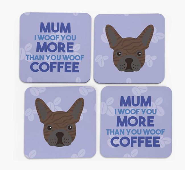 'More than Coffee' - Personalised French Bulldog Coasters (Set of 4)