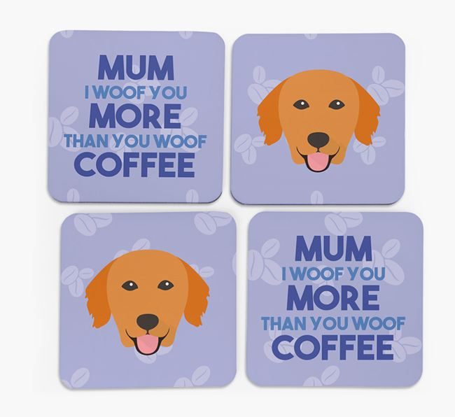 'More than Coffee' - Personalised Golden Retriever Coasters (Set of 4)