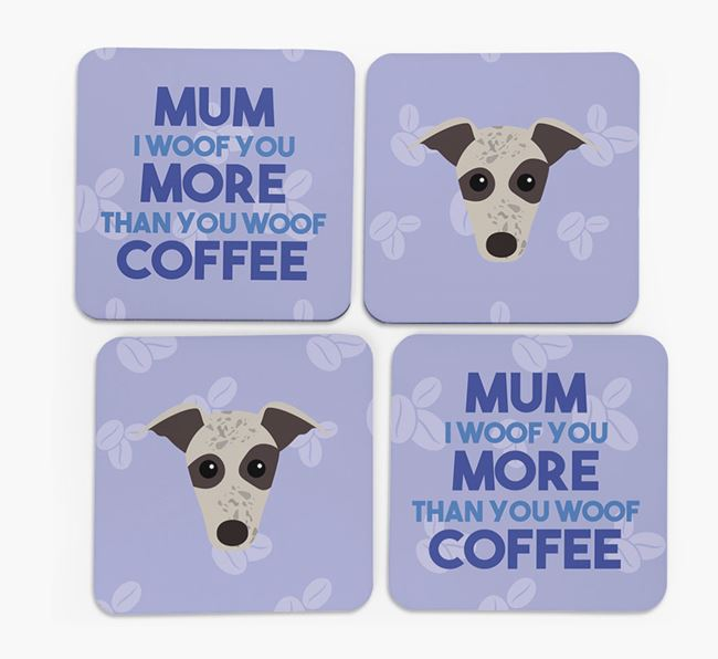'More than Coffee' - Personalised Greyhound Coasters (Set of 4)