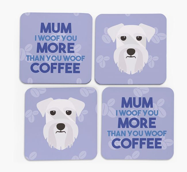 'More than Coffee' - Personalised Schnauzer Coasters (Set of 4)