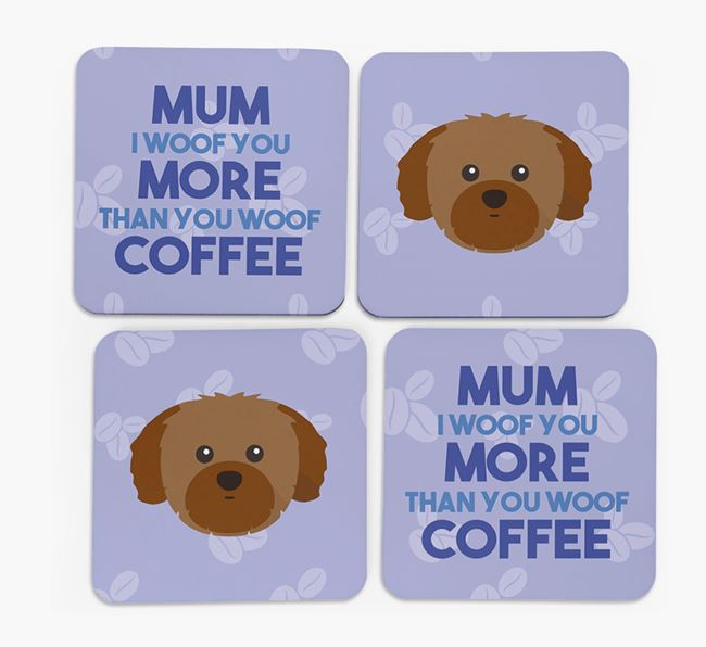 'More than Coffee' - Personalised Shih Tzu Coasters (Set of 4)
