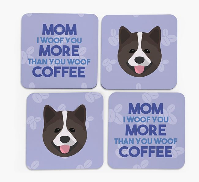 'More than Coffee' - Personalized Akita Coasters (Set of 4)