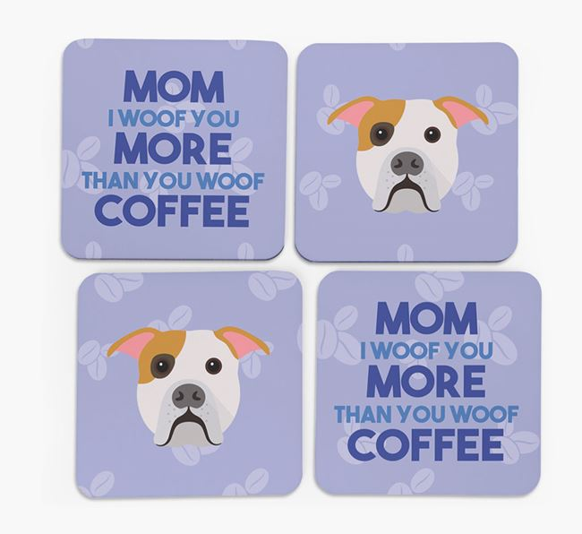 'More than Coffee' - Personalized American Bulldog Coasters (Set of 4)