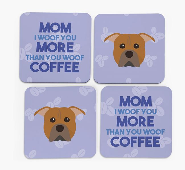 'More than Coffee' - Personalized American Pit Bull Terrier Coasters (Set of 4)