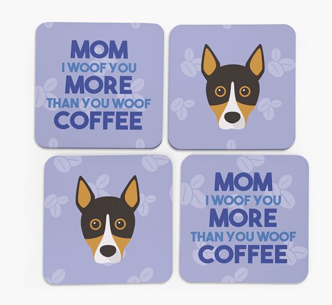 'More than Coffee' - Personalized Basenji Coasters (Set of 4)