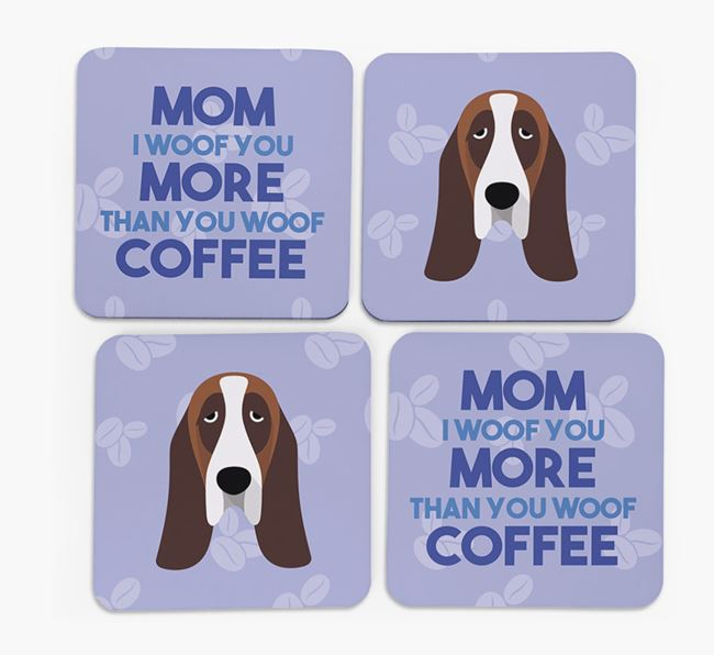 'More than Coffee' - Personalized Basset Hound Coasters (Set of 4)