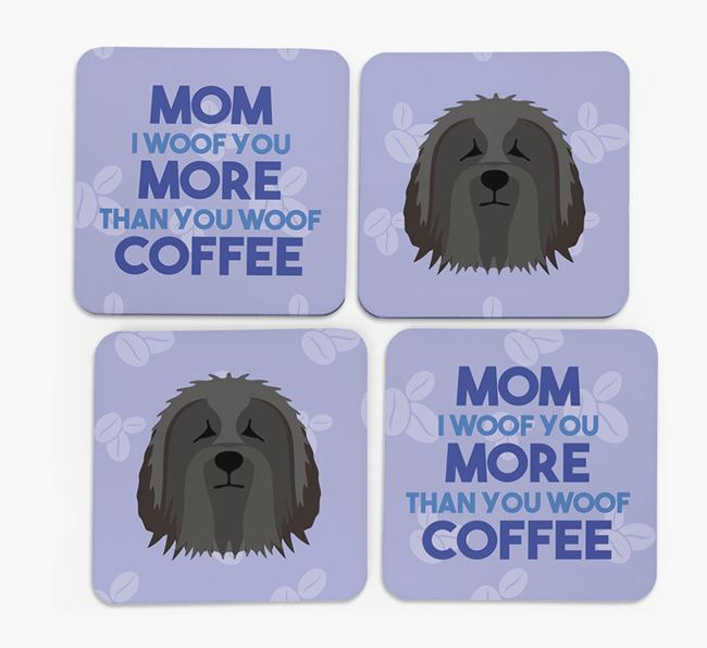 'More than Coffee' - Personalized Bearded Collie Coasters (Set of 4)