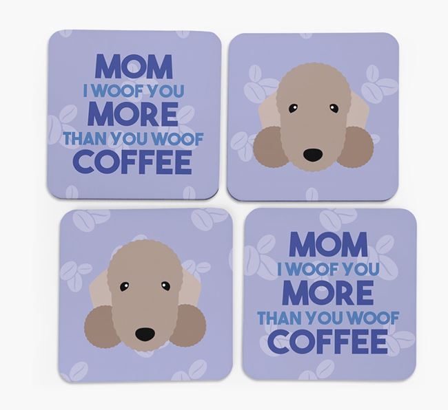 'More than Coffee' - Personalized Bedlington Terrier Coasters (Set of 4)