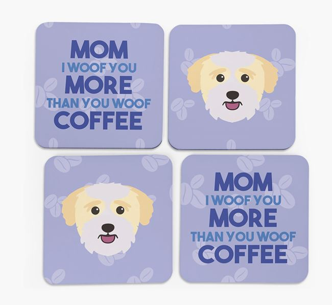 'More than Coffee' - Personalized Bichon Yorkie Coasters (Set of 4)