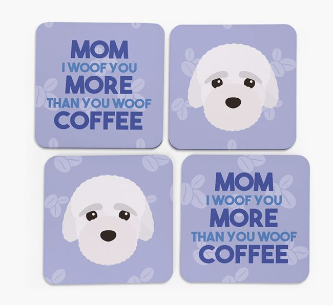 'More than Coffee' - Personalized Bich-poo Coasters (Set of 4)