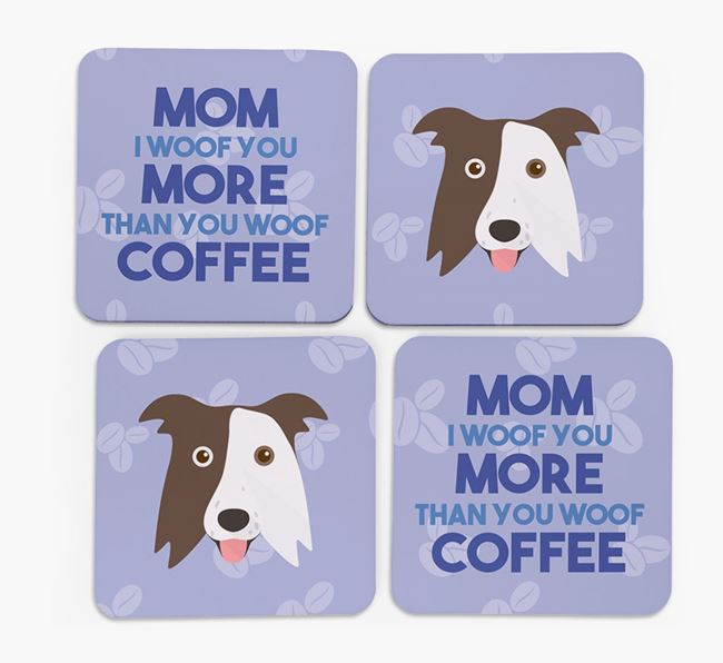 'More than Coffee' - Personalized Border Collie Coasters (Set of 4)