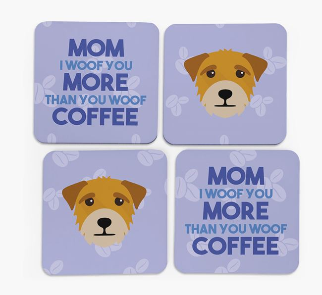 'More than Coffee' - Personalized Border Terrier Coasters (Set of 4)