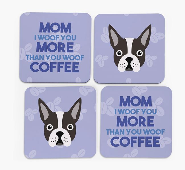 'More than Coffee' - Personalized Boston Terrier Coasters (Set of 4)