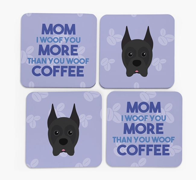 'More than Coffee' - Personalized Boxer Coasters (Set of 4)