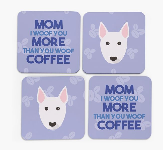 'More than Coffee' - Personalized Bull Terrier Coasters (Set of 4)