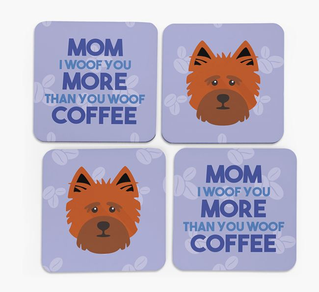 'More than Coffee' - Personalized Cairn Terrier Coasters (Set of 4)
