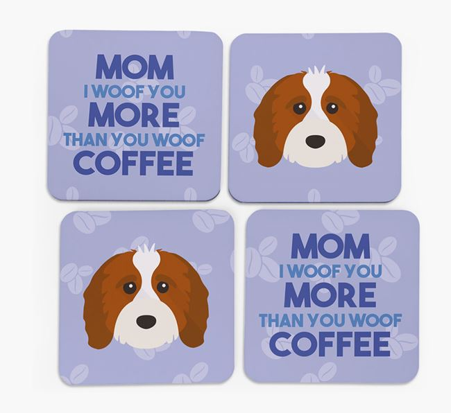 'More than Coffee' - Personalized Cavapoo Coasters (Set of 4)