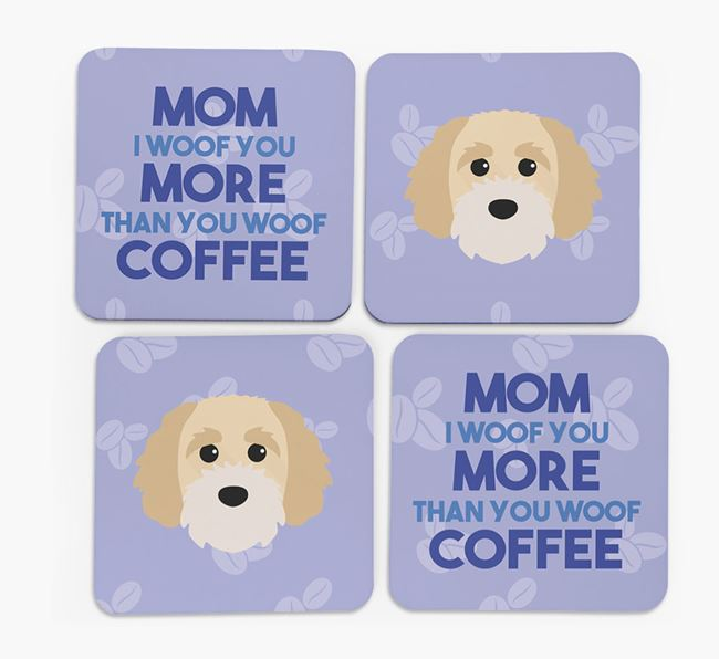 'More than Coffee' - Personalized Cavapoochon Coasters (Set of 4)