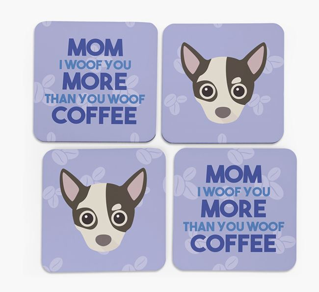'More than Coffee' - Personalized Chihuahua Coasters (Set of 4)