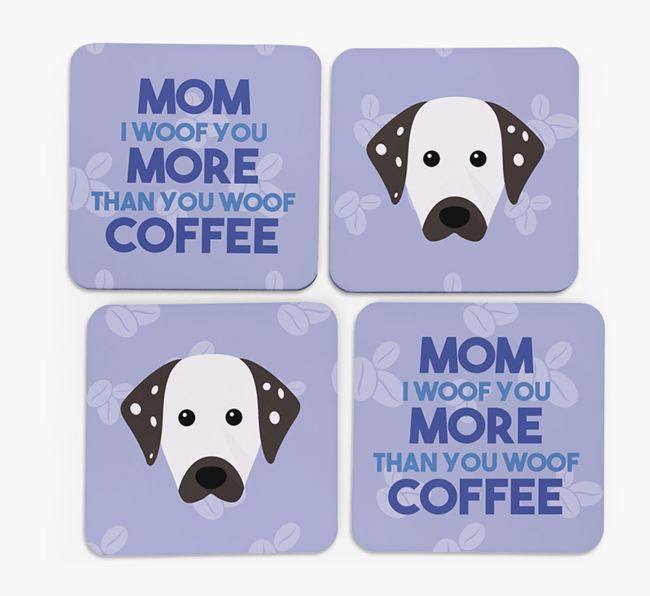 'More than Coffee' - Personalized Dalmatian Coasters (Set of 4)