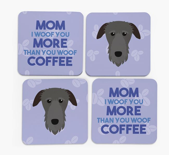'More than Coffee' - Personalized Deerhound Coasters (Set of 4)
