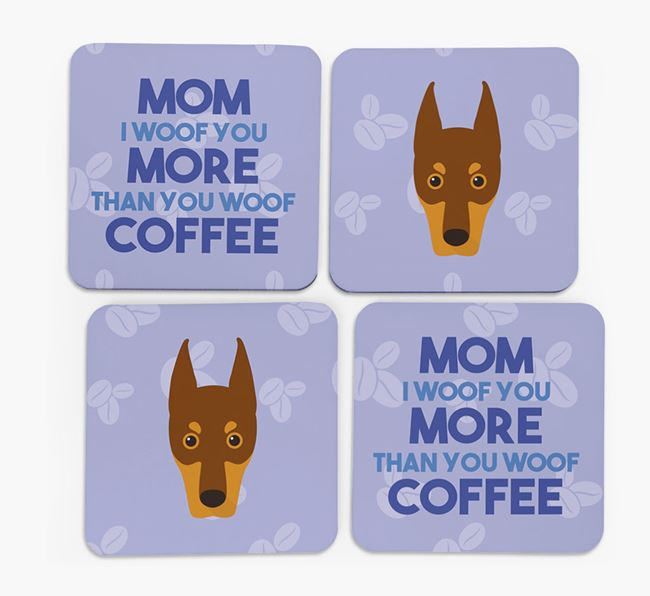 'More than Coffee' - Personalized Dobermann Coasters (Set of 4)